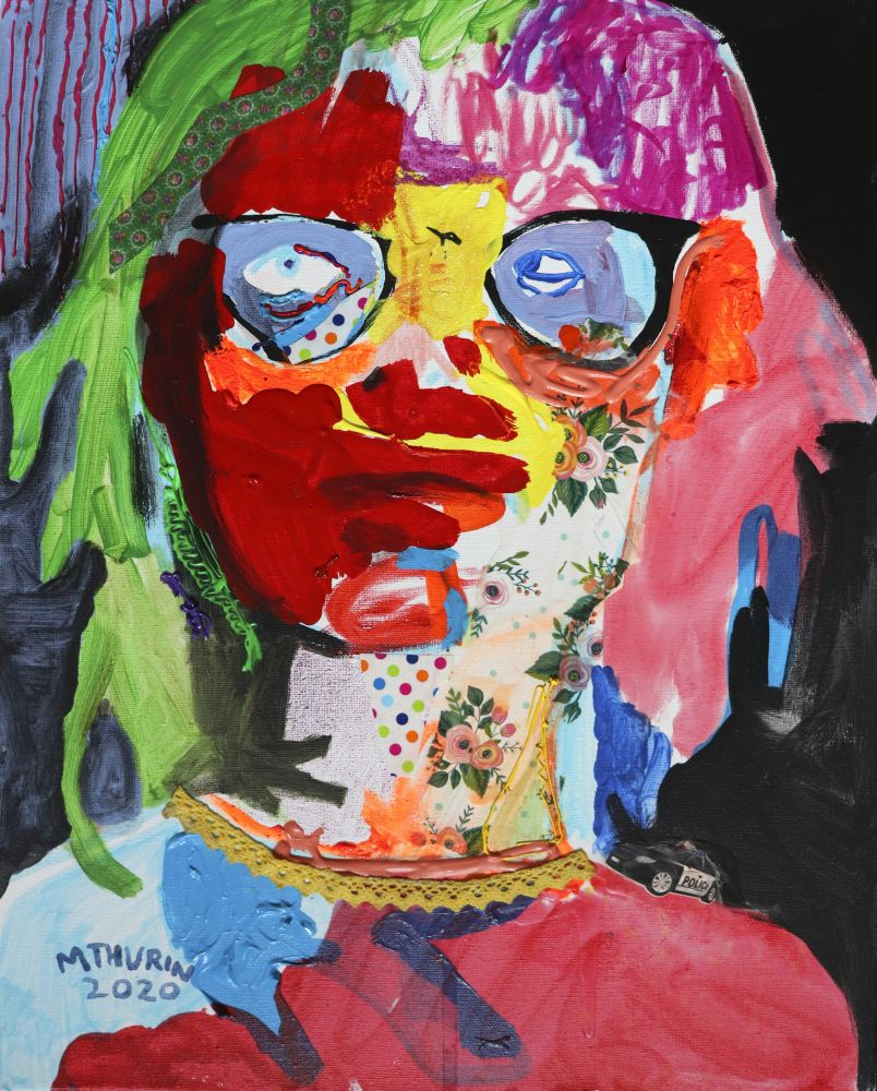 "Self Portrait 2020  20"" x 16""  Mixed Media On Canvas"