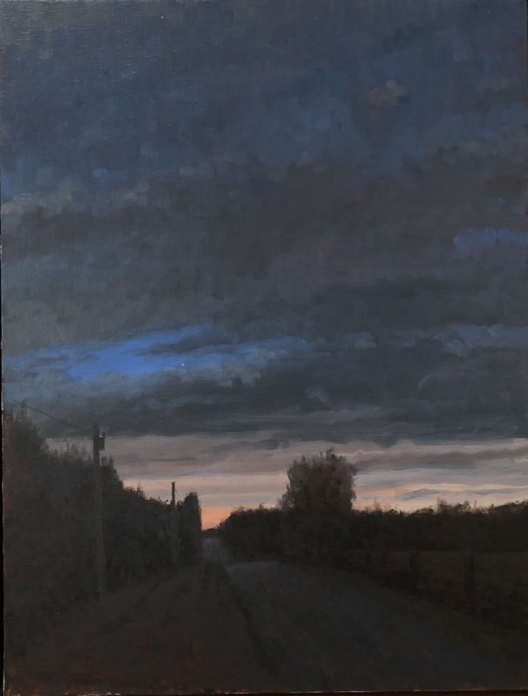 "Twilight, Saline County  26"" x 22""  Oil On Canvas"