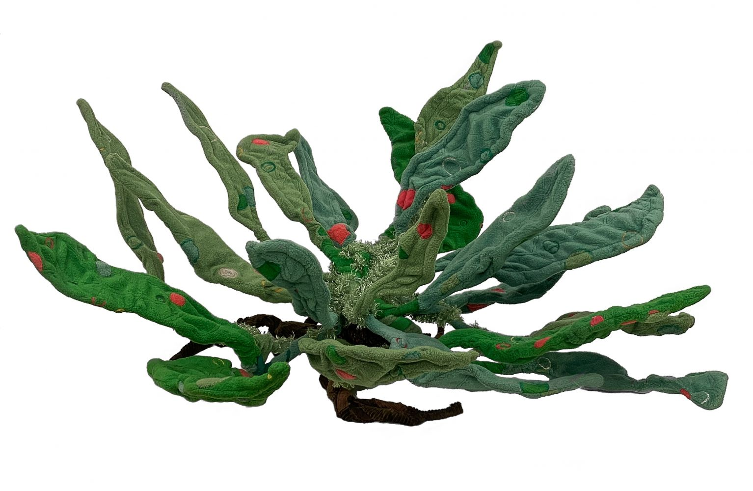 """Aquatic Plant   32"""" x 47"""" x 44""""  Embroidered And Applique Sewn Fabric Over Wire And Wood"""