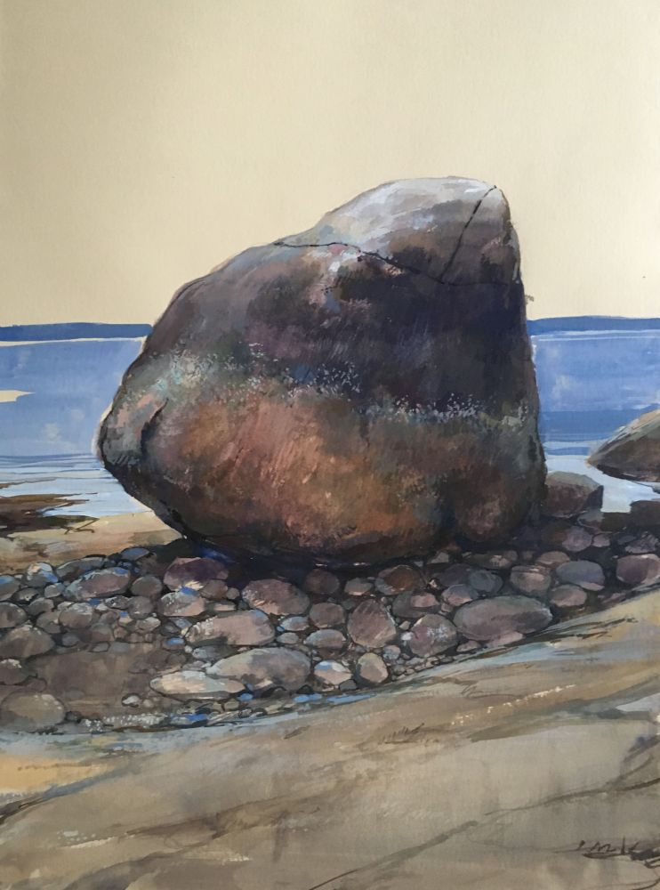 """Large Rock  22"""" x 15""""  Watercolor On Buff Paper"""