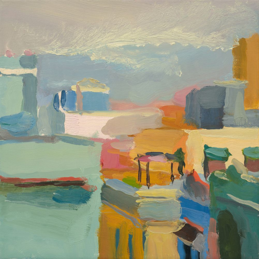 """Facades And Rooftops On Calle Sol (SOLD)  14"""" x 14""""  Oil On Linen"""