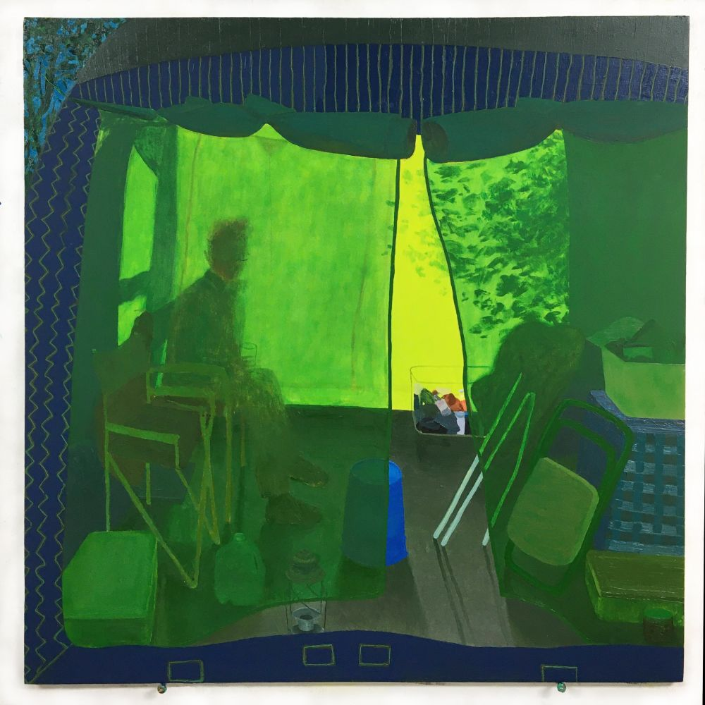 """Leigh Werrell, Camping With Henry  28"""" x 28""""  Oil On Panel"""