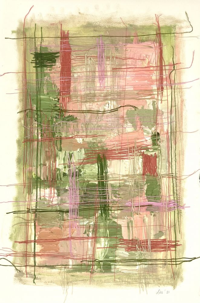 """Work On Paper Green  22"""" x 15""""  Oil, Thread, And Gel Medium On Paper"""
