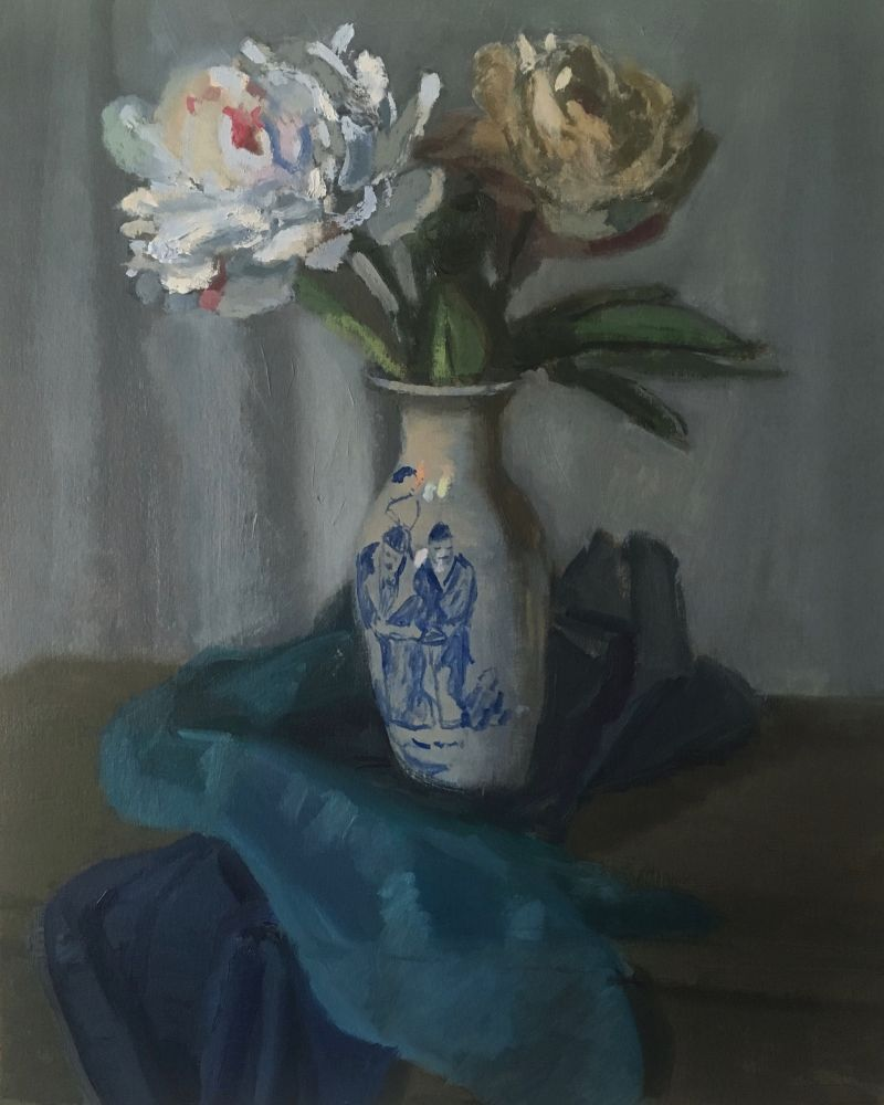 "Peonies  15"" x 13""  Oil On Panel"