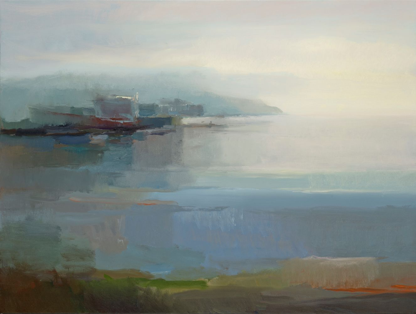 "Harbor At Dawn  30"" x 40""  Oil On Linen"