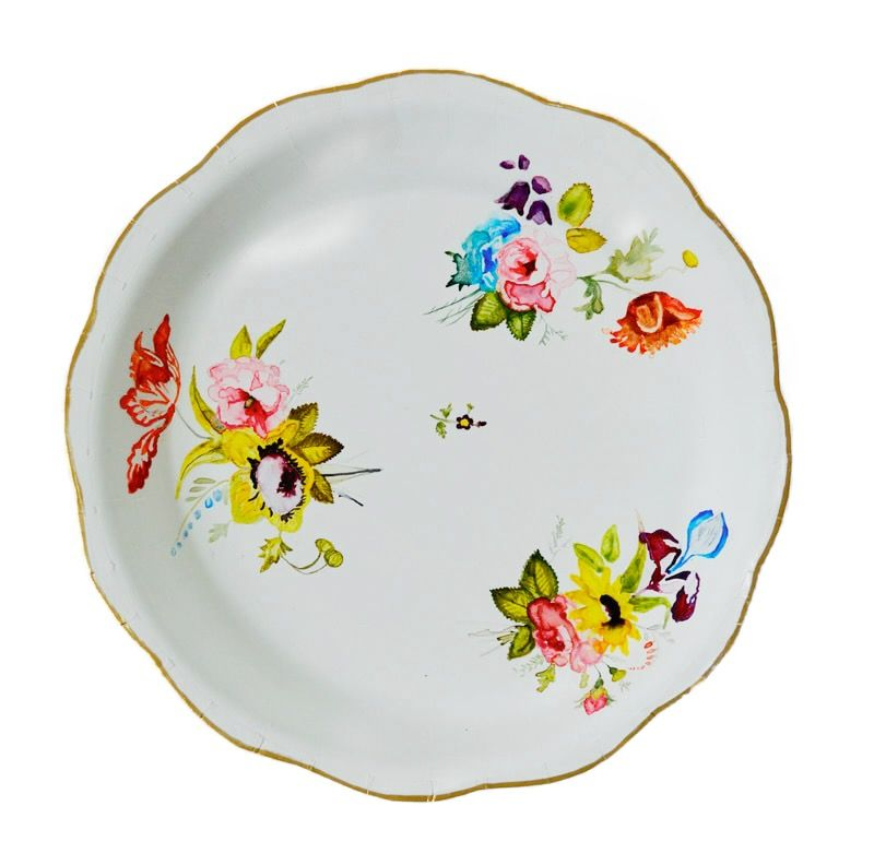 """Elizabeth Hamilton, Private Collection Series: Plate VI, Derby Porcelain Factory  9"""" Diameter  Watercolor And Mixed Media On Paper"""