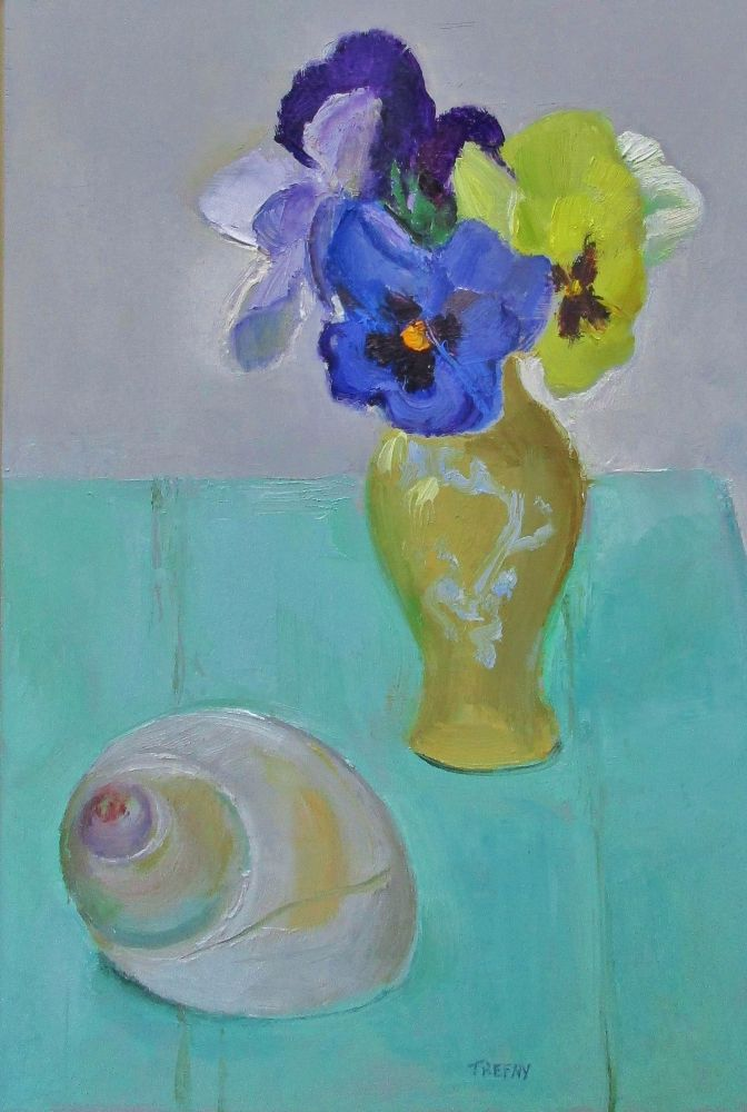 """Pansies And Moon Snailshell  12"""" x 8""""  Oil On Panel"""