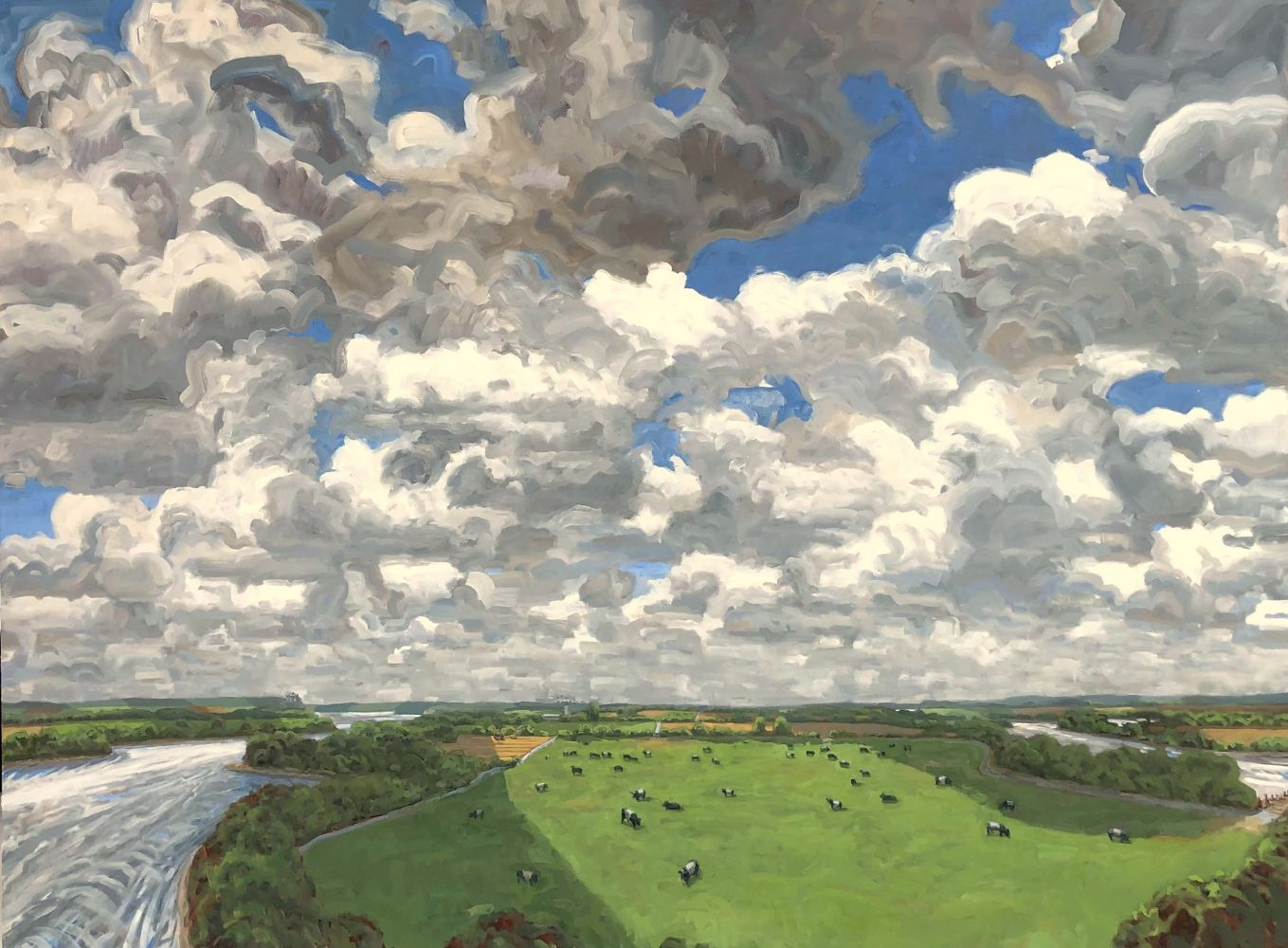 """Big Sky In The Bottomlands  52"""" x 64""""  Oil On Canvas"""