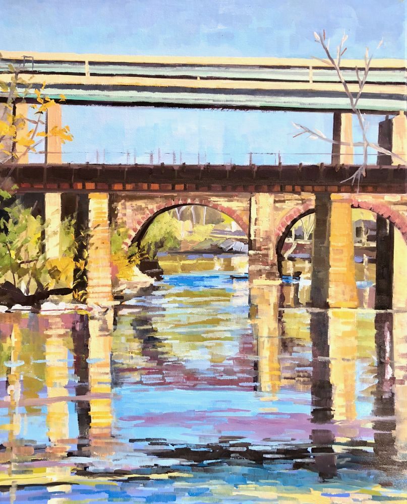 "Elaine Lisle, Afternoon Bridge Reflections, 20"" x 16""  Oil On Canvas"