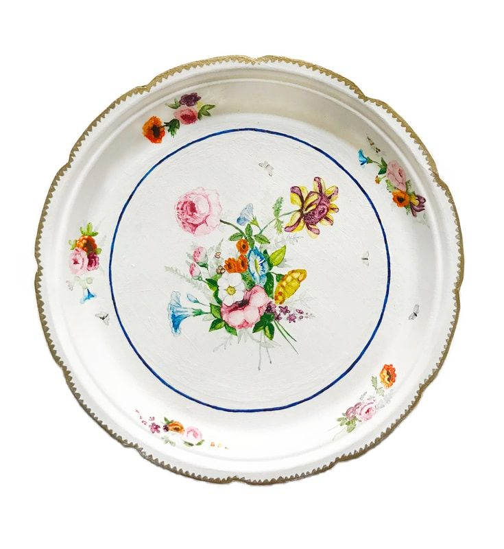 """Private Collection Series: Nantgarw Porcelain Factory 1813-1822  mixed media on paper plates  9"""" round"""
