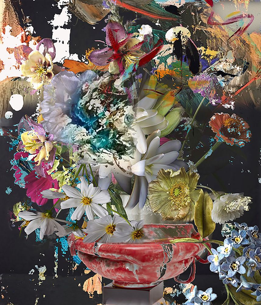 """Irene Mamiye, Homage 6589  28"""" x 24""""  Dye-sublimation Prints On Iodized Aluminum"""