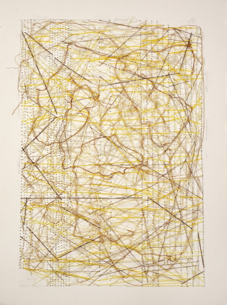 """Work On Paper Yellow  30"""" x 22""""  Thread Glued And Stitched On Paper"""