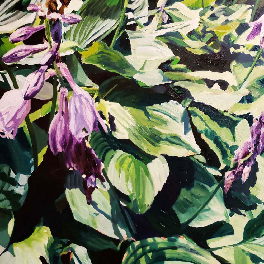 "Naomi Chung, Hostas, 10"" x 10"", Oil On Panel​"