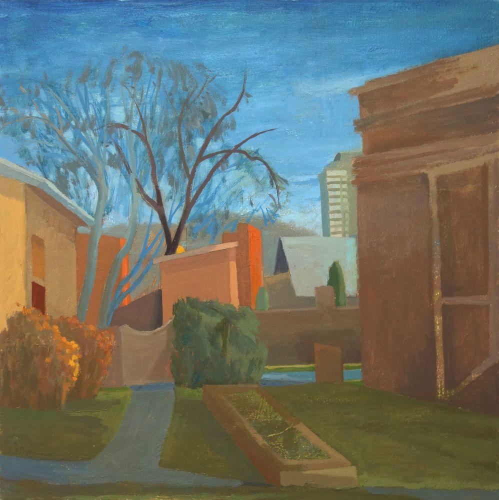 Celia Reisman, Surprise Night, oil on canvas, 20 x 20 inches