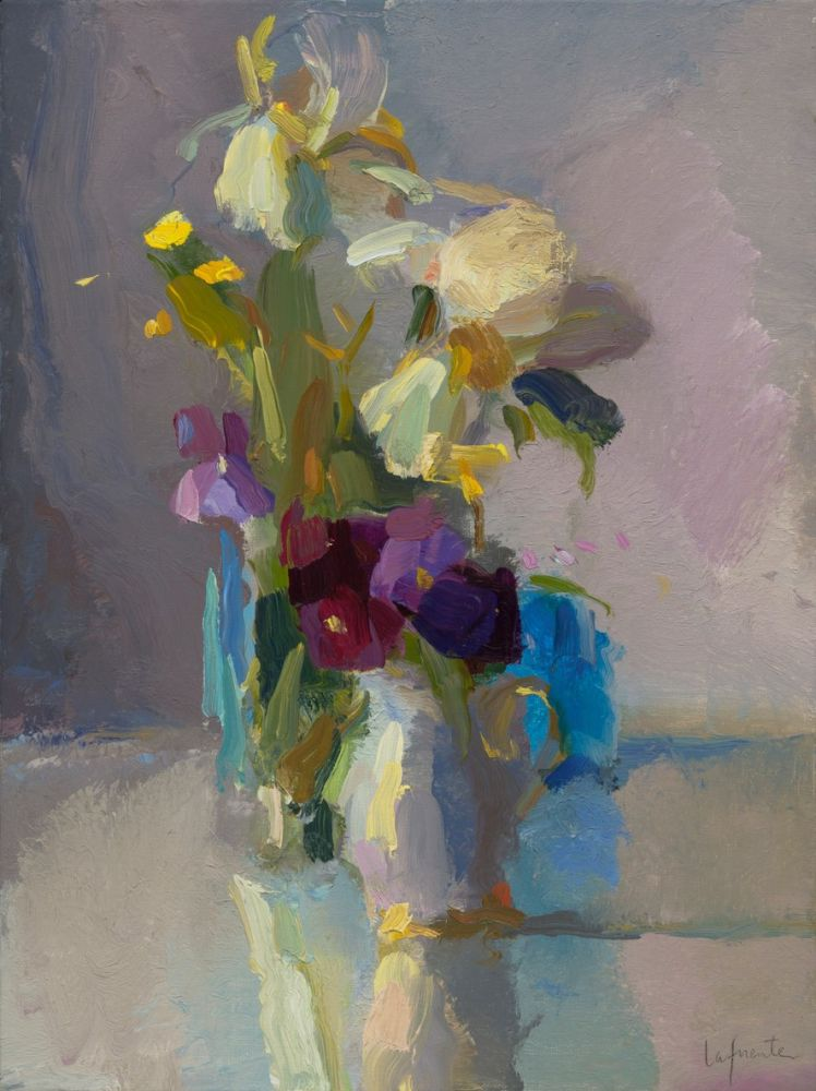 """Iris, Pansies And Buttercup (SOLD)  16"""" x 12""""  Oil On Linen"""