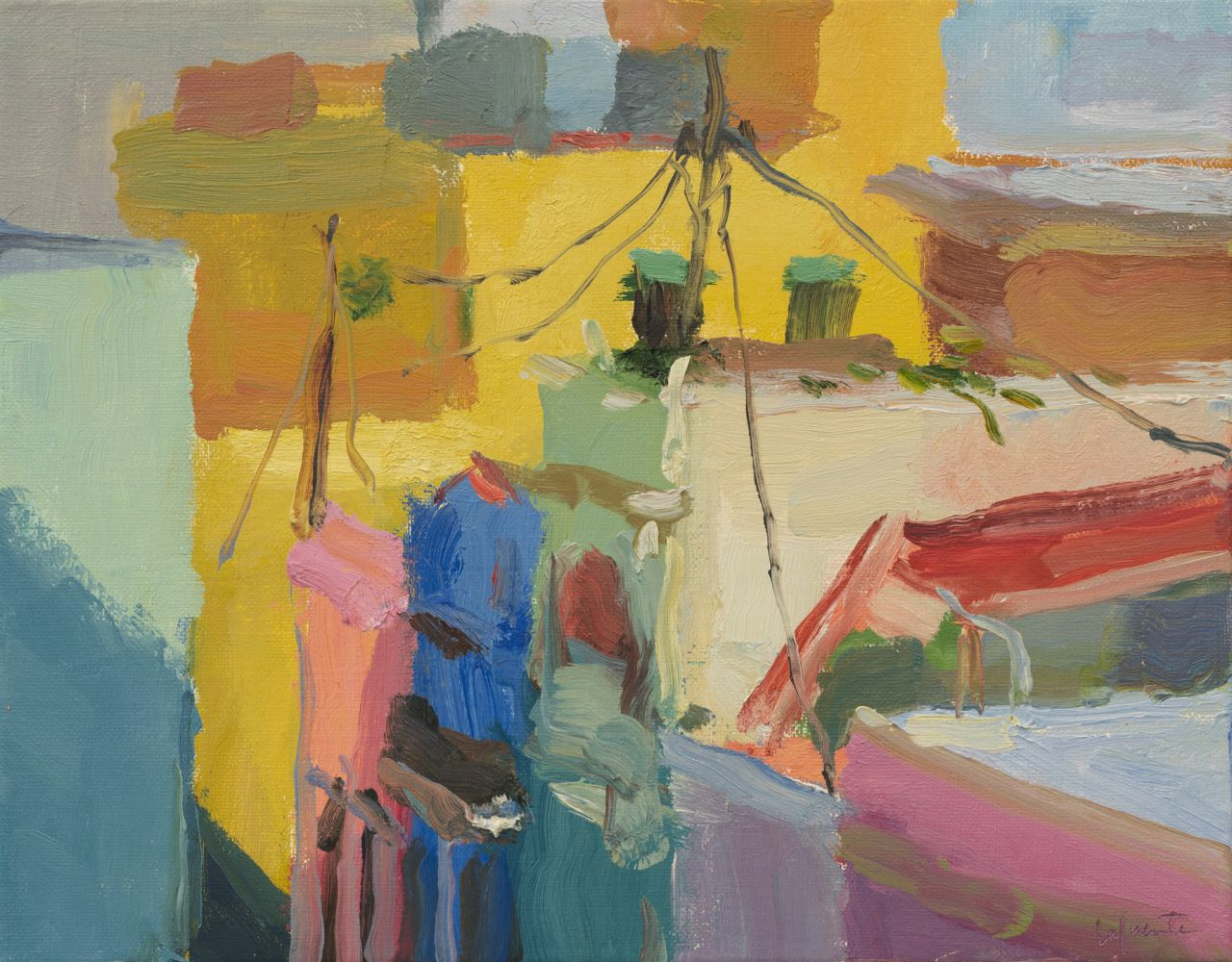 """Rooftops And Power Lines  11"""" x 14""""  Oil On Canvas"""
