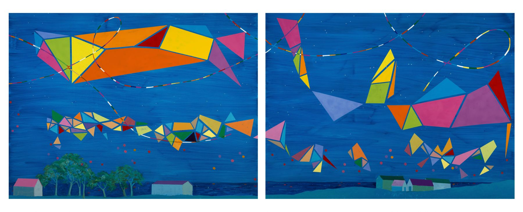 "Dreaming Of Achill (Diptych)  38"" x 92""  Oil On Canvas"
