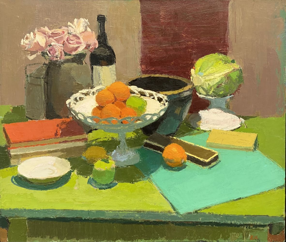"""Still Life With Fruit, Flowers & Cabbage  24"""" x 28""""  Oil On Linen"""