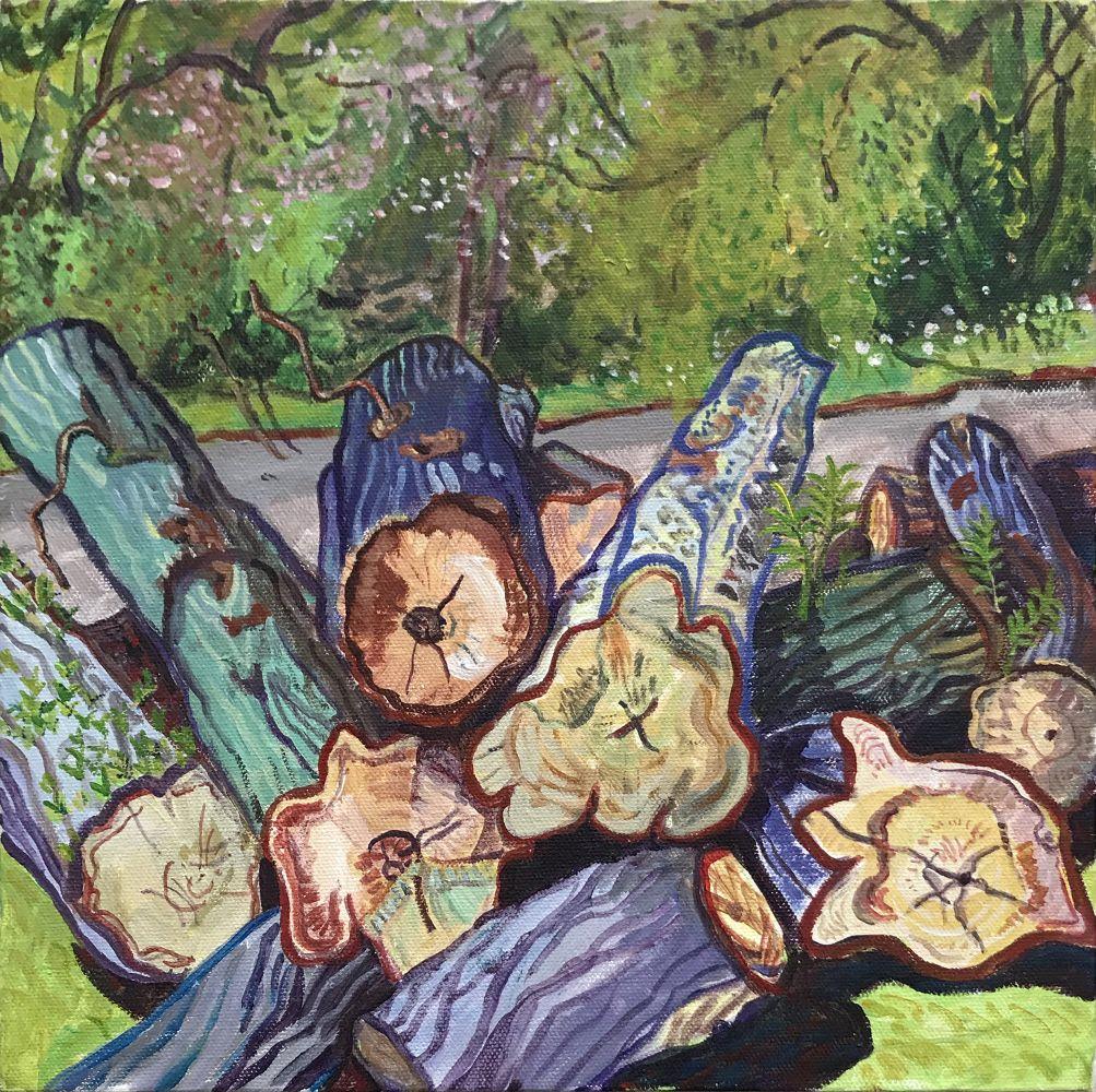 """Fresh Cut Logs, Central Park  12"""" x 12""""  Acrylic On Canvas"""