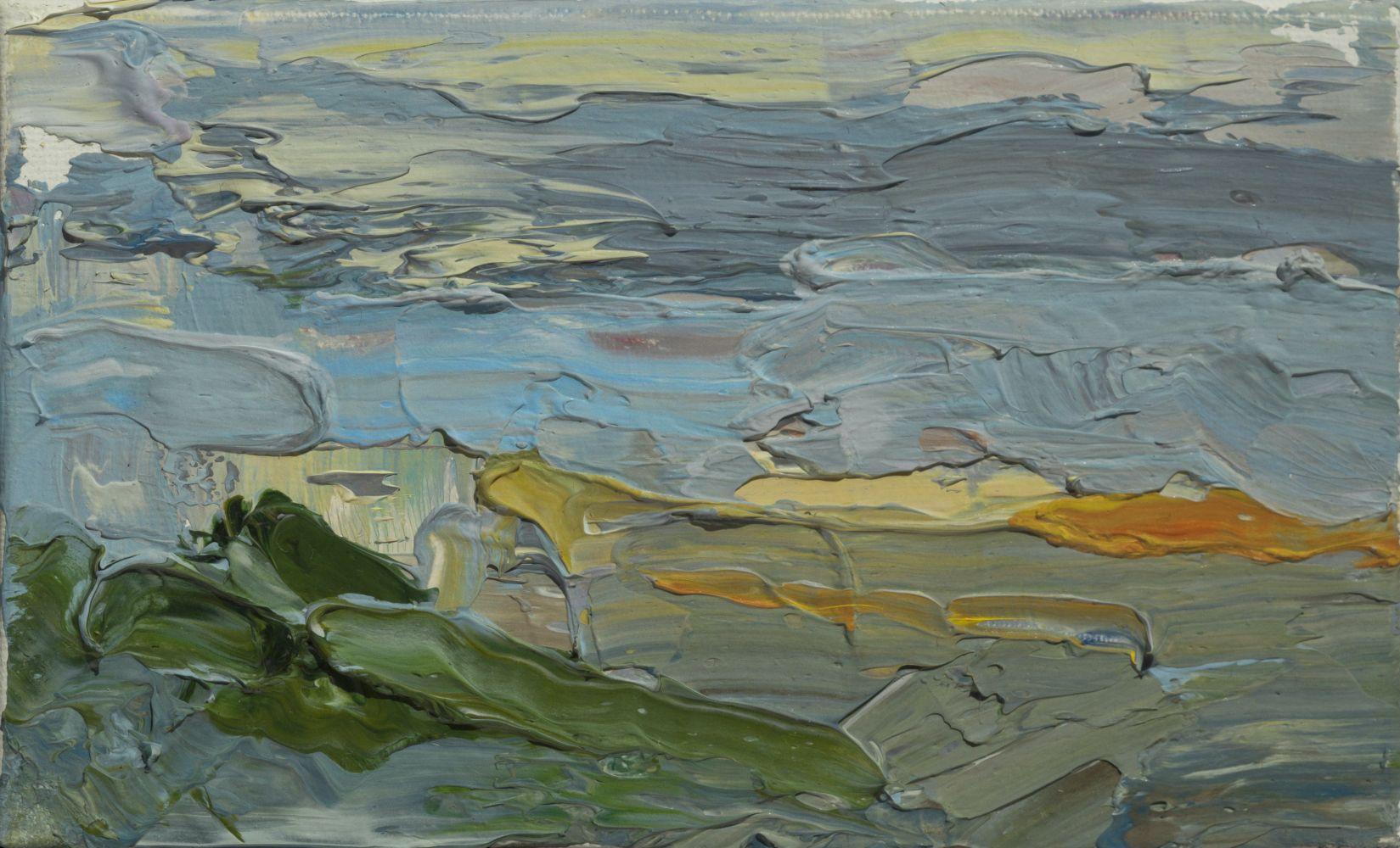 "Sunset In Acadia  2"" x 5""  Oil On Linen Mounted On Panel"
