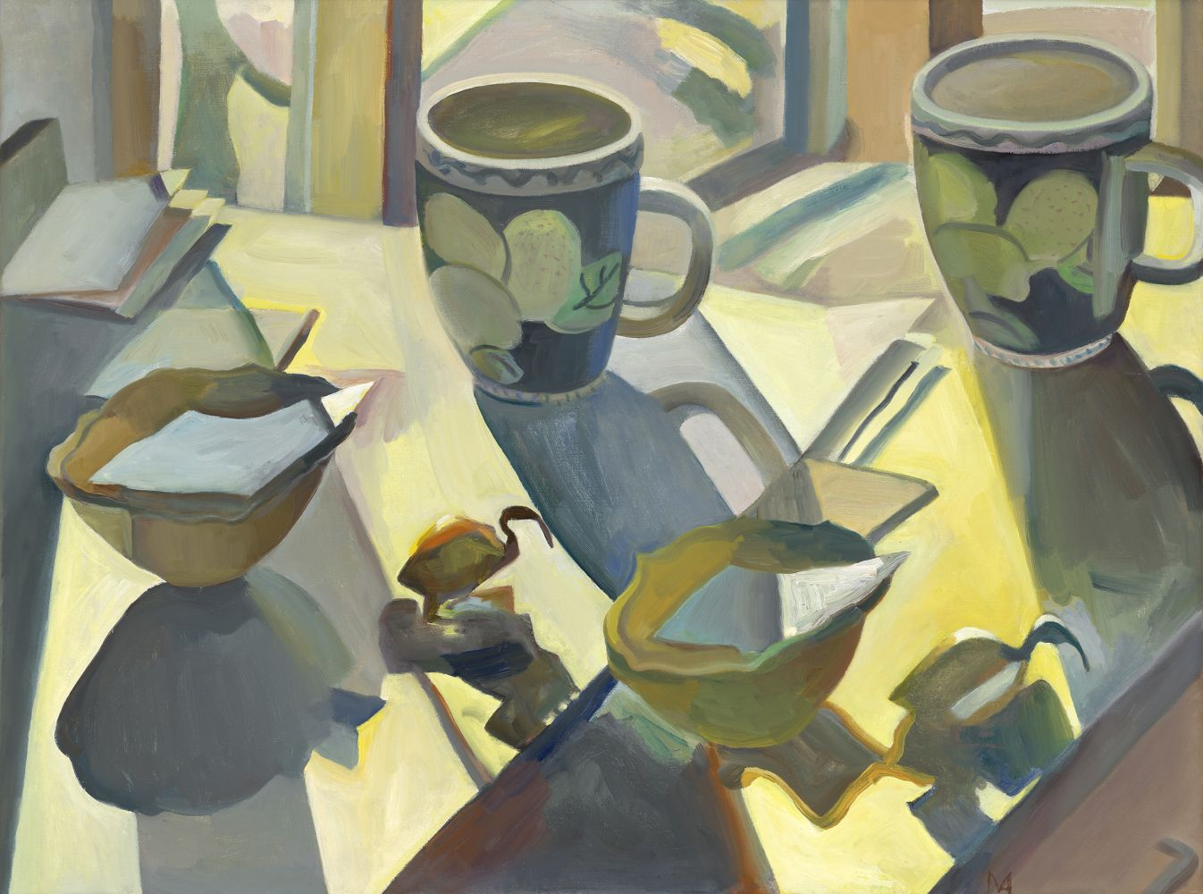"""Double Take-Ibis and Cup  23"""" x 31""""  Oil On Canvas"""
