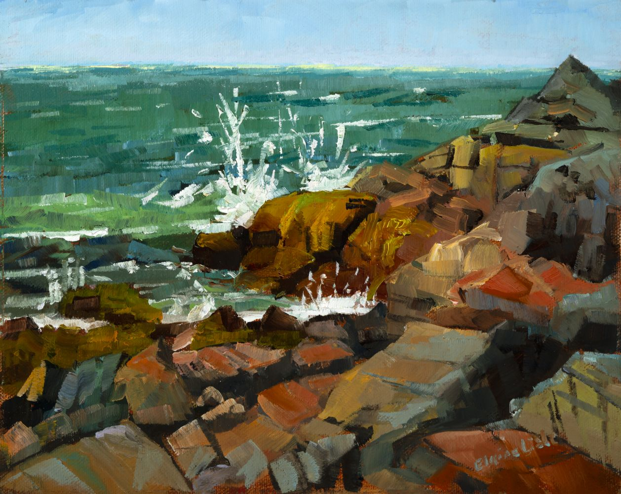 """Hot Day Lobster Cove  8"""" x 10""""  Oil On Board"""