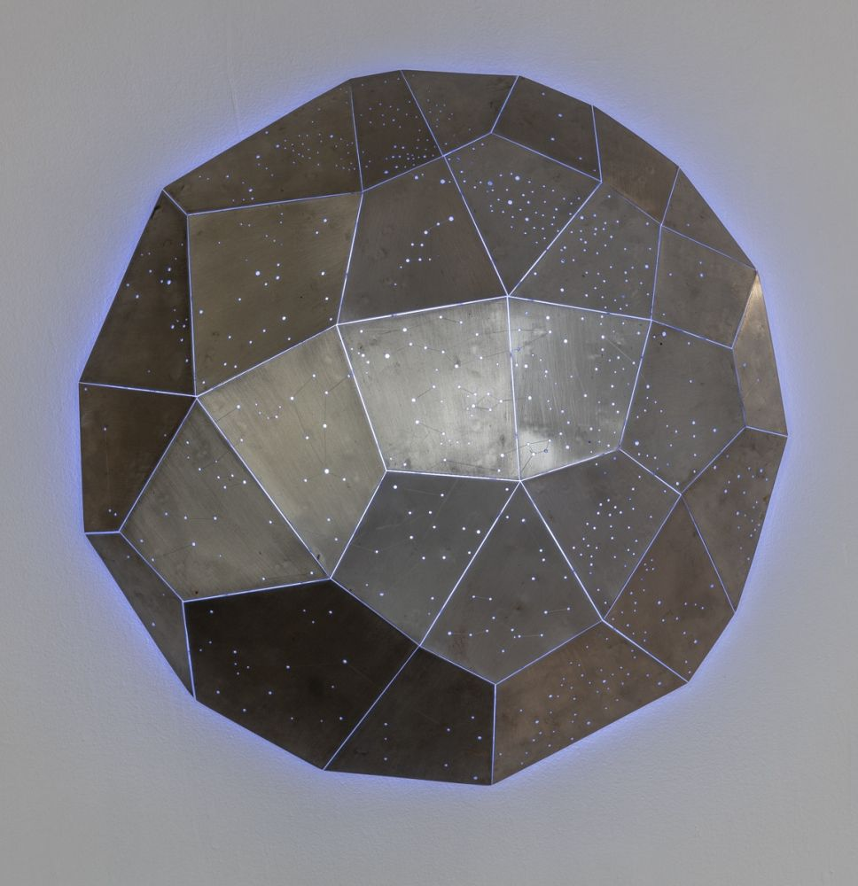 "Star Clusters (In Collaboration With Scott White)  40"" Diameter  Welded Steel With LED Lighting"