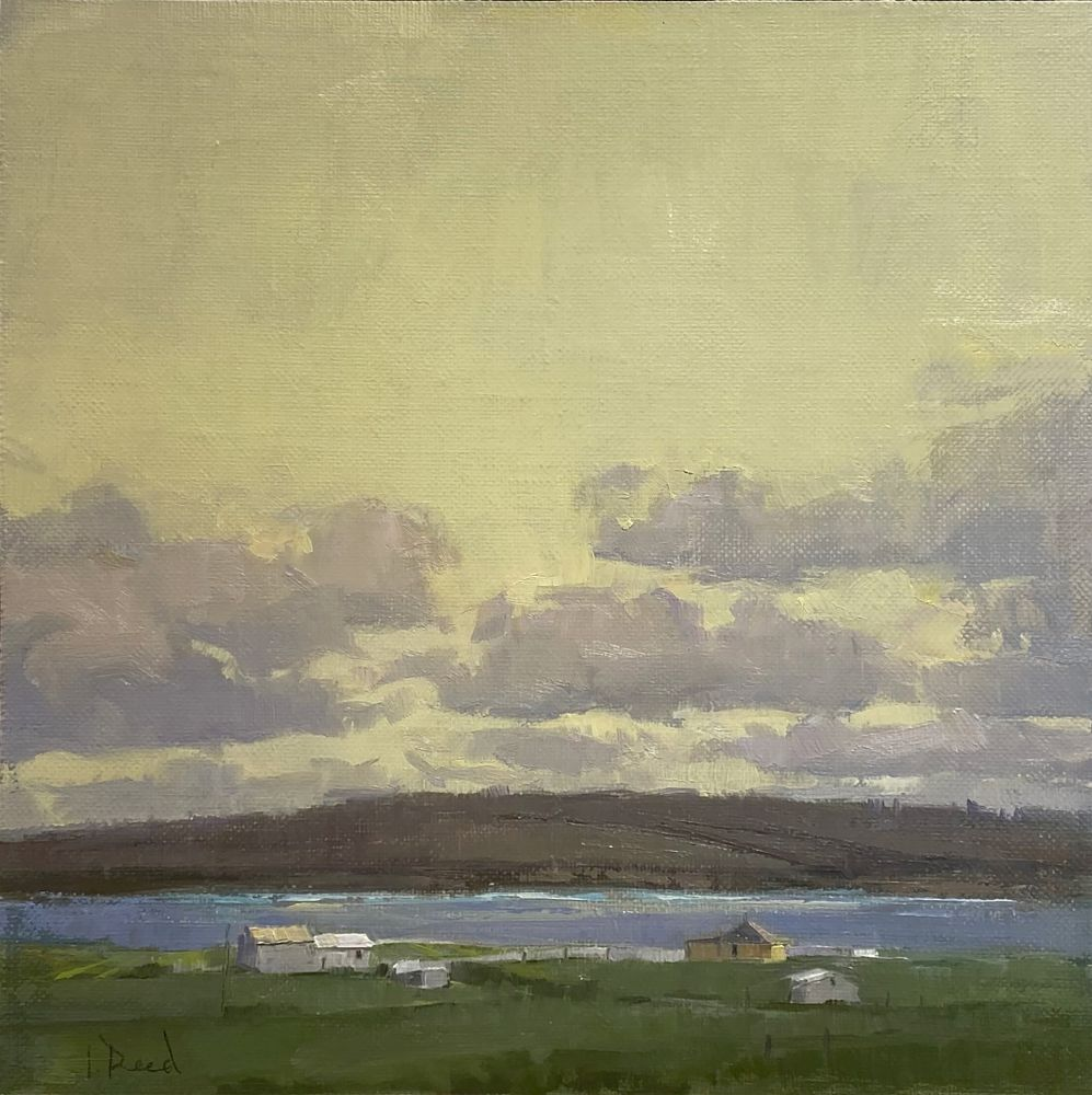 """Jeffrey Reed, Yellow Sky 8"""" x 8""""  Oil On Canvas"""