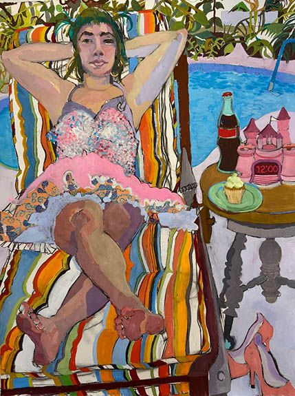 "Meera In Key West  52"" x 30""  Gouache, Charcoal & Oil Pastel"