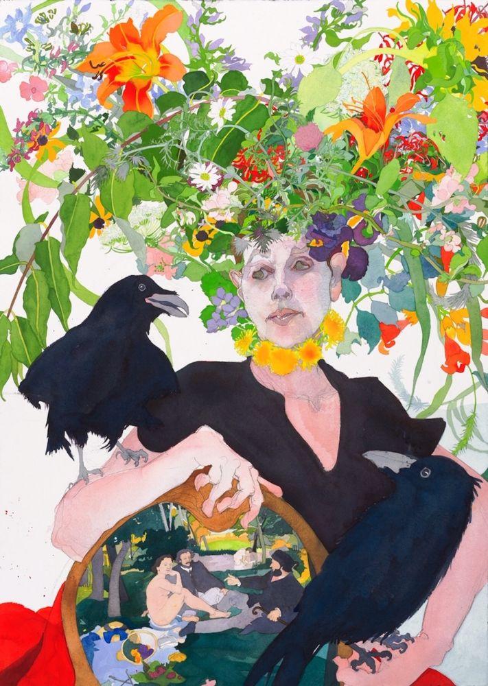"Joan Becker, Le Dejeuner Sur L'Herbe 40"" x 30""  Watercolor"