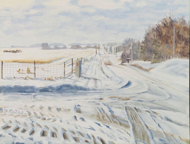"""Farm Road In Winter  11"""" x 14""""  Oil On Board"""