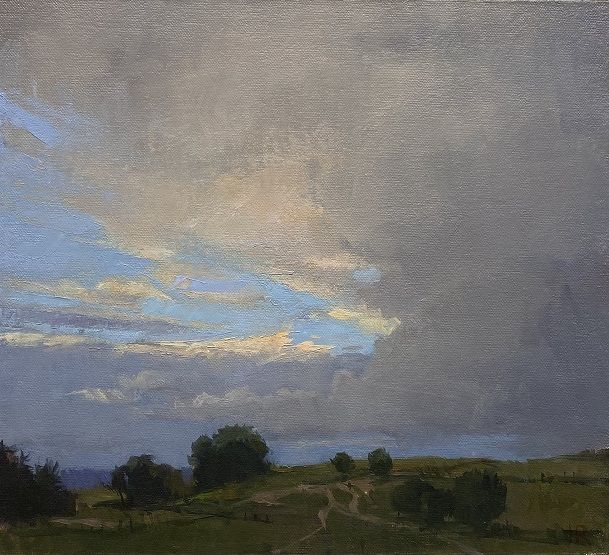 "Lancaster, Evening Sky  10"" x 11""  Oil On Panel"