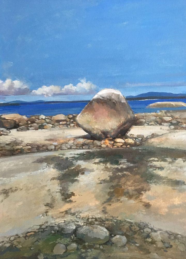 """Flye Point Rock III  15"""" x 11""""  Watercolor On Buff Paper"""