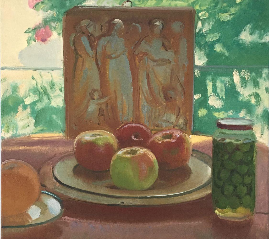 """Scott Noel, Apples And Olives 16"""" x 18""""  Oil On Linen"""