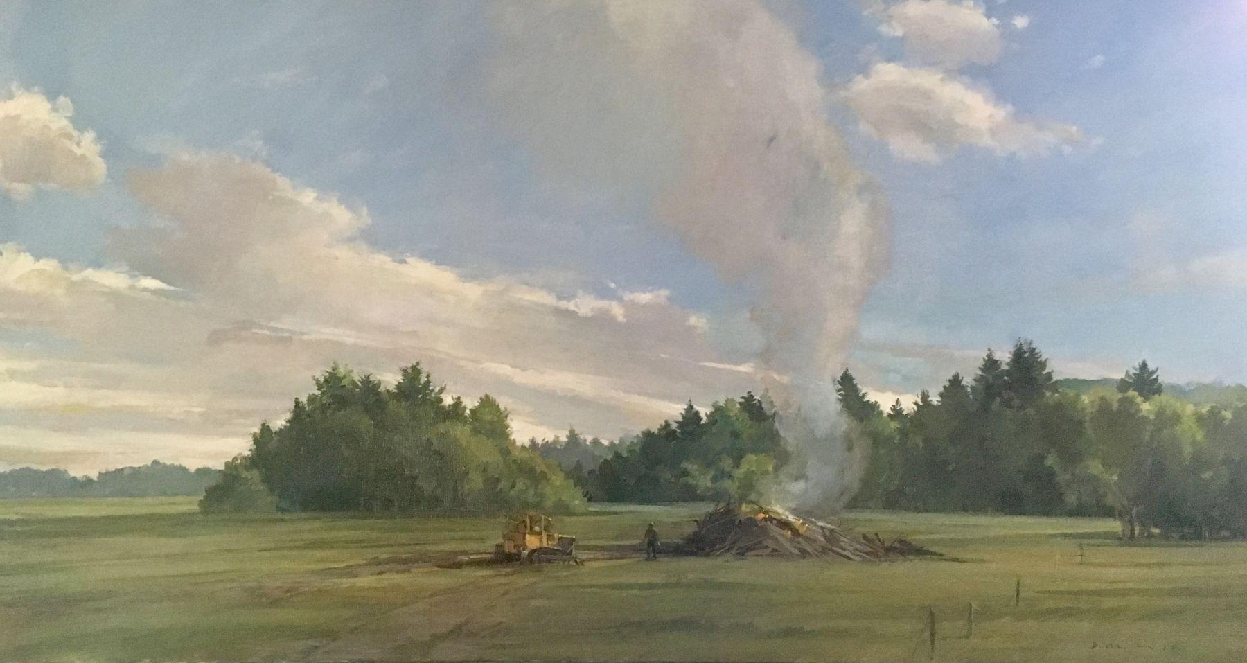 "Building A Pile  24"" x 46""  Oil On Canvas"