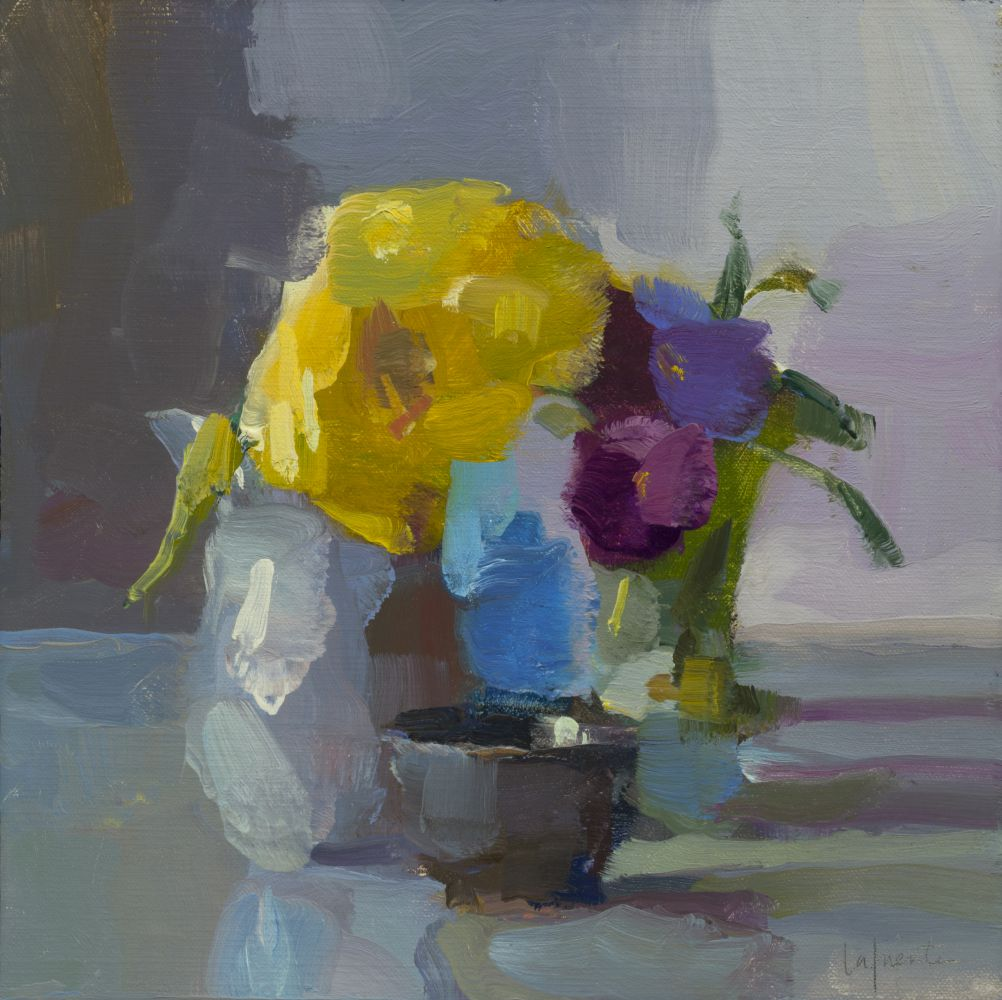 "Pansies And Yellow Tulip  10"" x 10""  Oil On Mounted Linen"