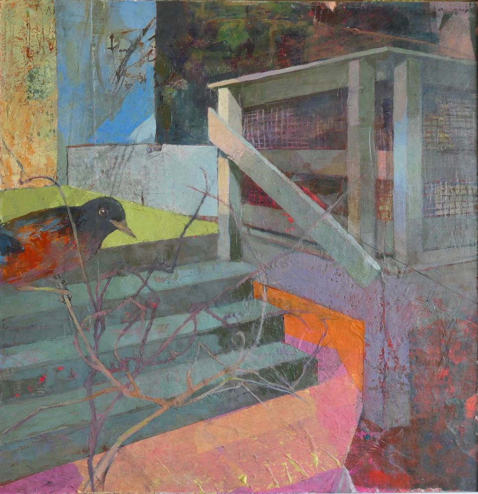 "Back Deck #1  13.5"" x 13.5""  Gouache And Oil On Paper With Beeswax"