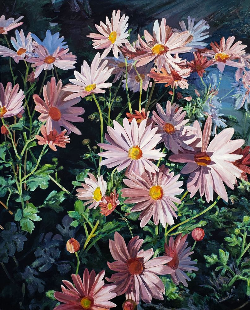 "Naomi Chung, Autumn Mum, ​54"" x 44"", Oil On Canvas"