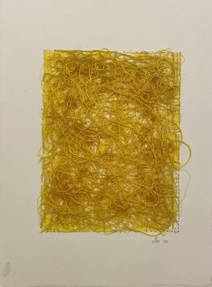 "Work On Paper Yellow  15"" x 11""  Watercolor, Thread, Turmeric And Gel Medium On Paper"