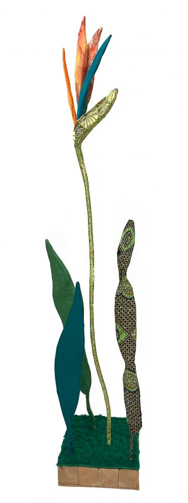 Bird Of Paradise Chinese Silk  76″ x 13.75″ x 13.5″  Fabric Sewn Over Wire, Piping And Wood