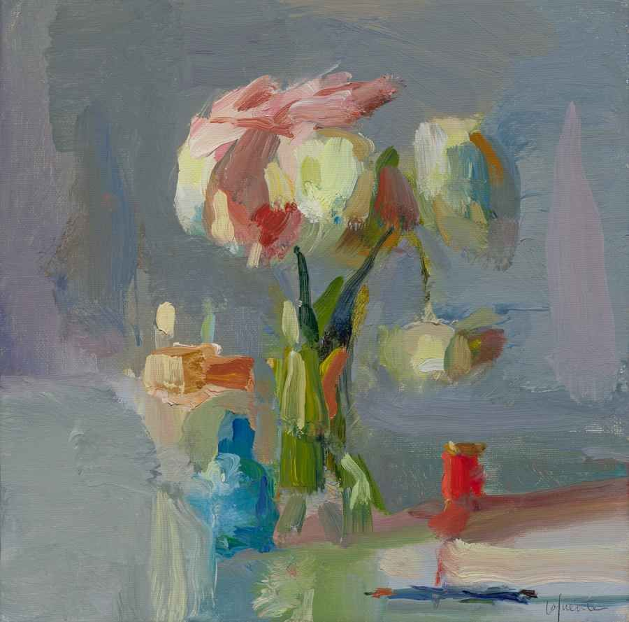 """Bottles, Peonies And Red Thread  10"""" x 10""""  Oil On Linen"""