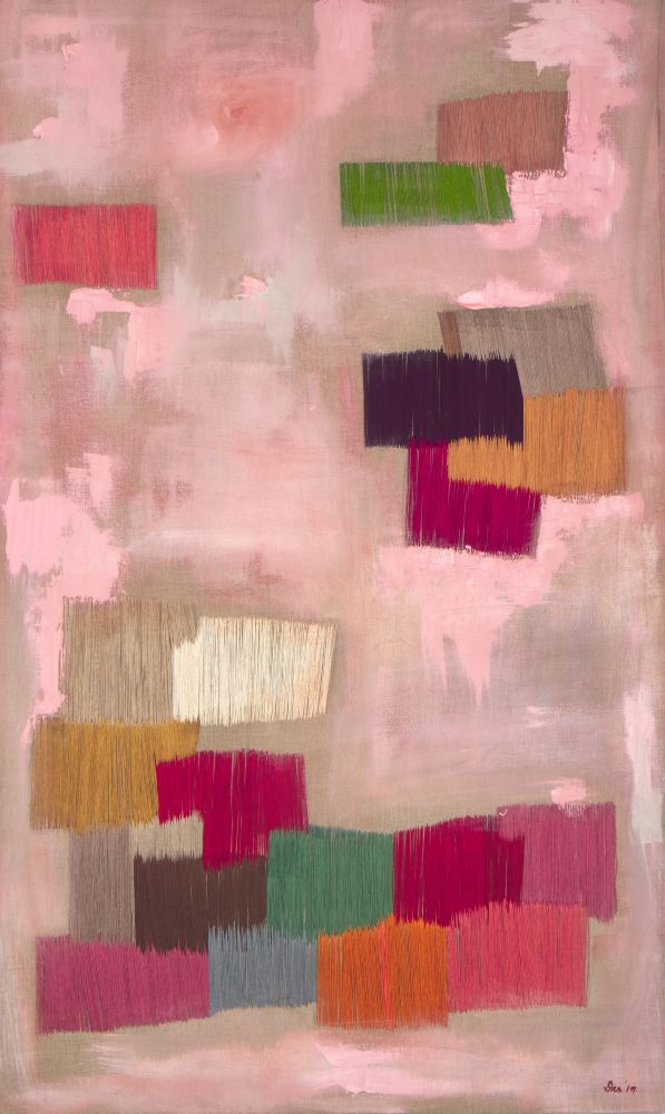 """Pink   60"""" x 36""""  Oil And Thread On Canvas"""