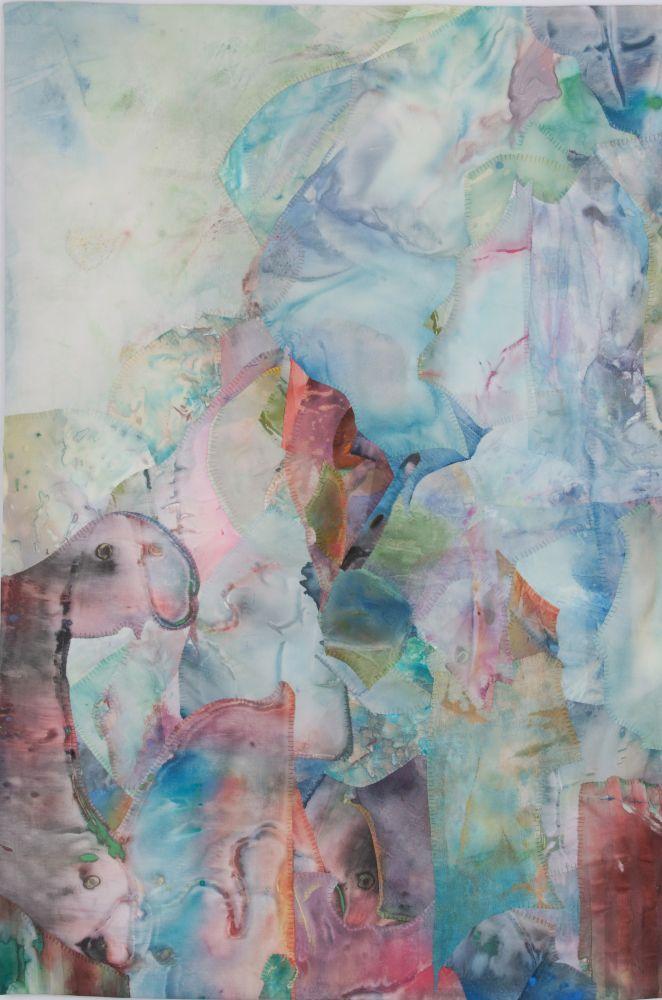 "Shadow Dreams  39"" x 26""  Acrylic And Thread On Silk"