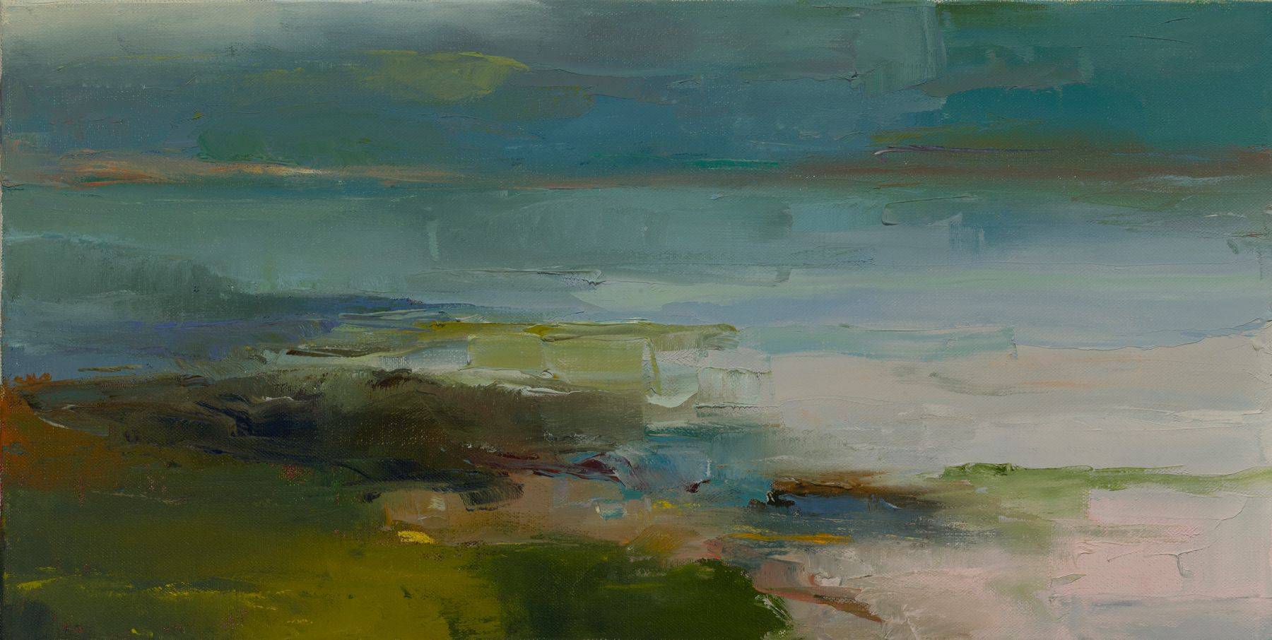 """Cove In The Mist (SOLD)  15"""" x 30""""  Oil On Linen"""