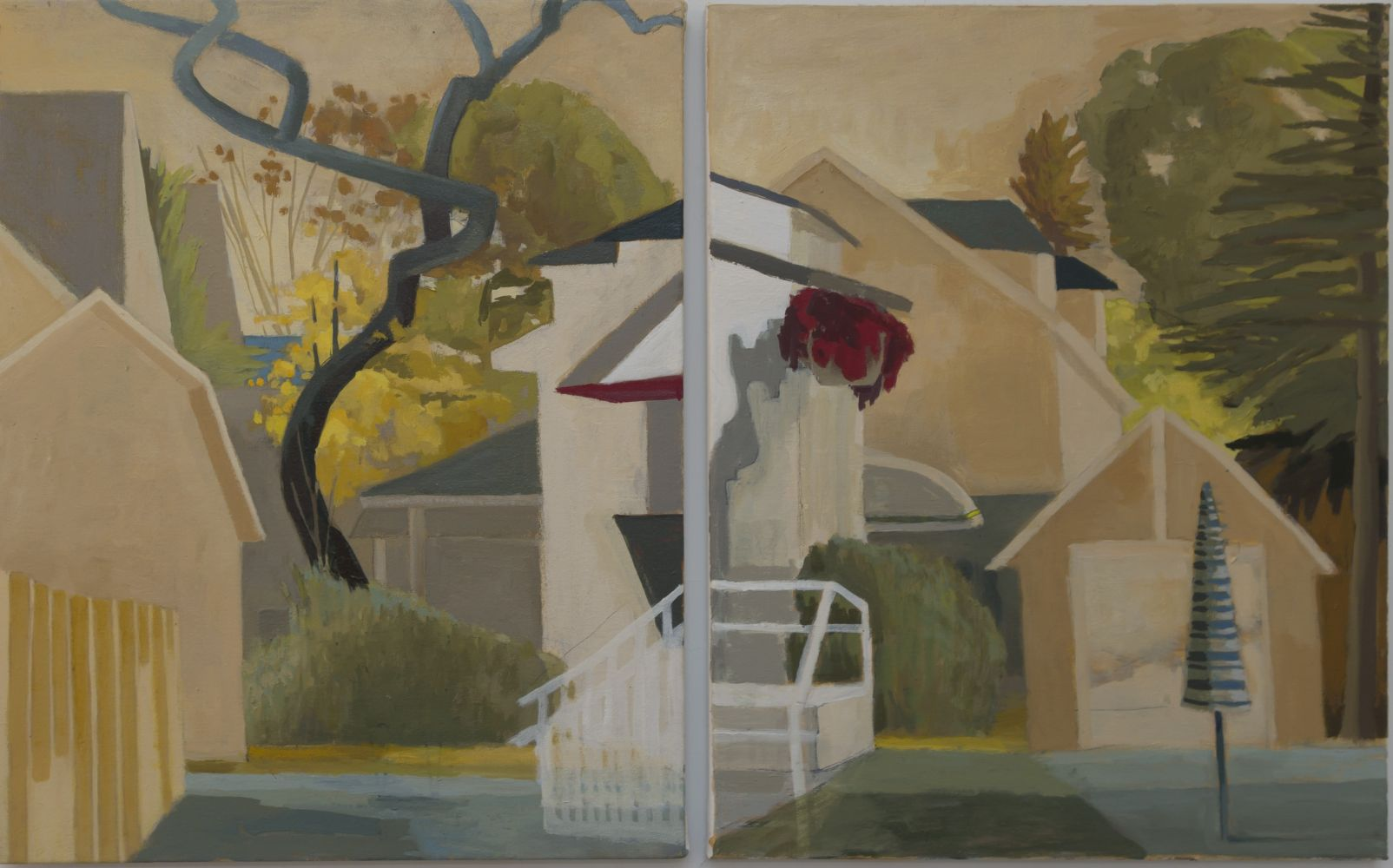 "Celia Reisman, Umbrella & S-Tree (diptych)  20"" x 32""   Oil On Canvas"