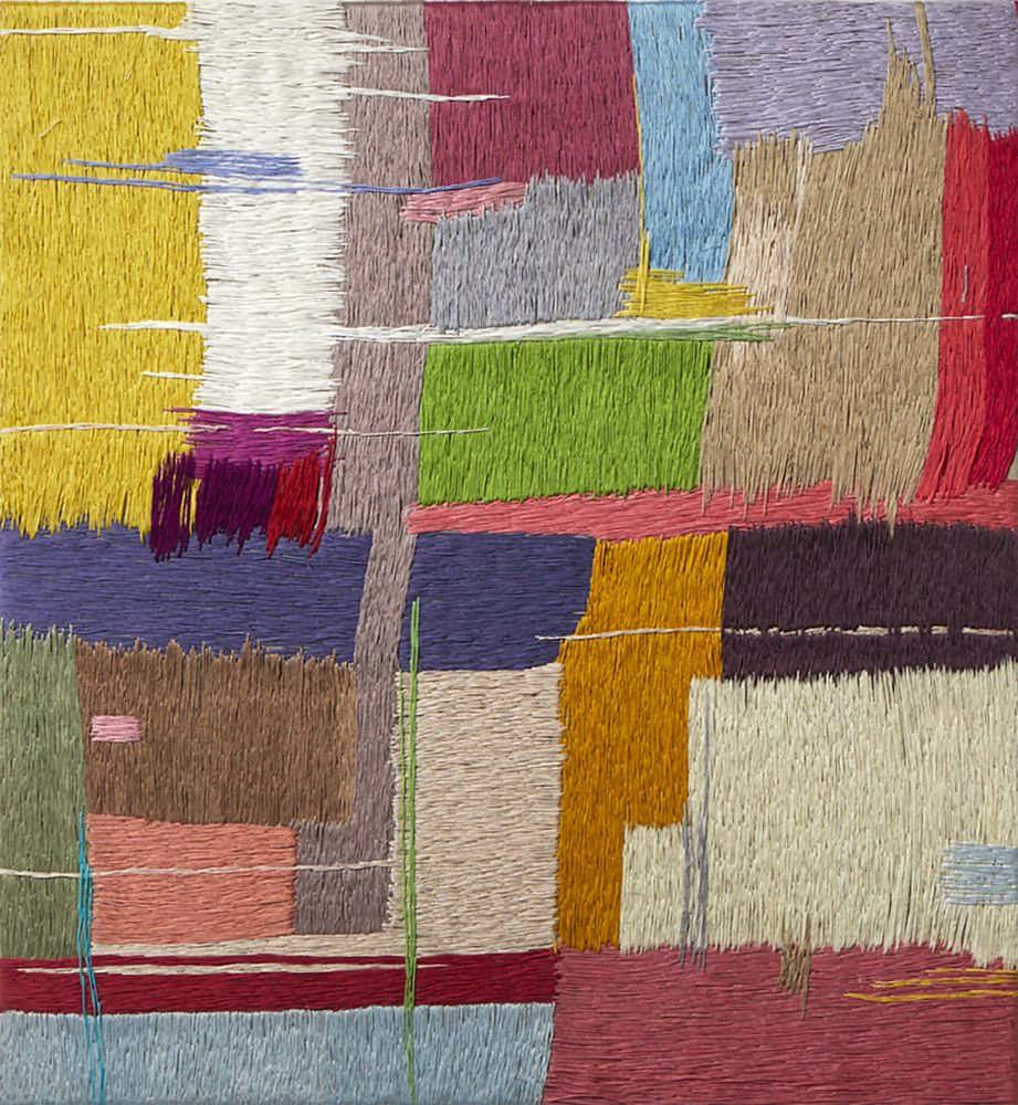 """Spring Colors  30"""" x 30""""  Thread On Linen"""