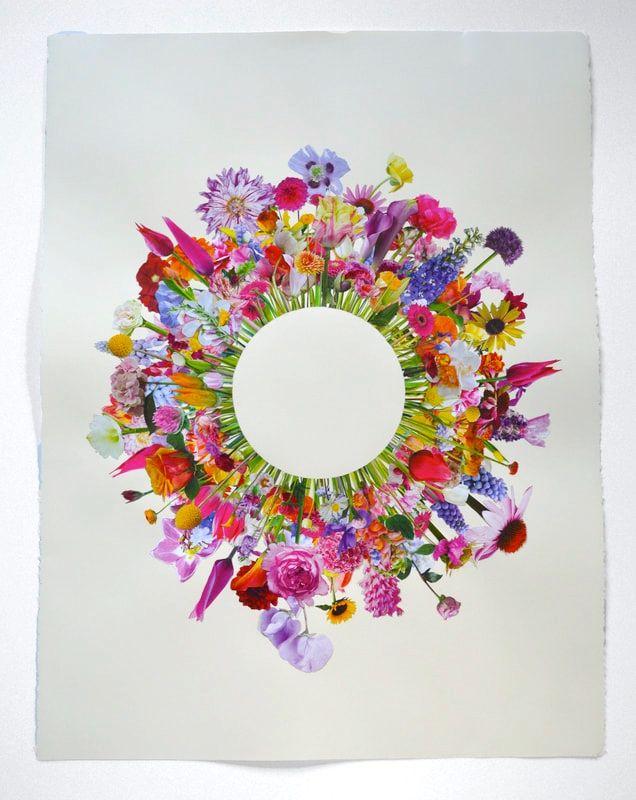 """Elizabeth Hamilton, Flower Collage #3  30"""" x 22""""  Collage"""