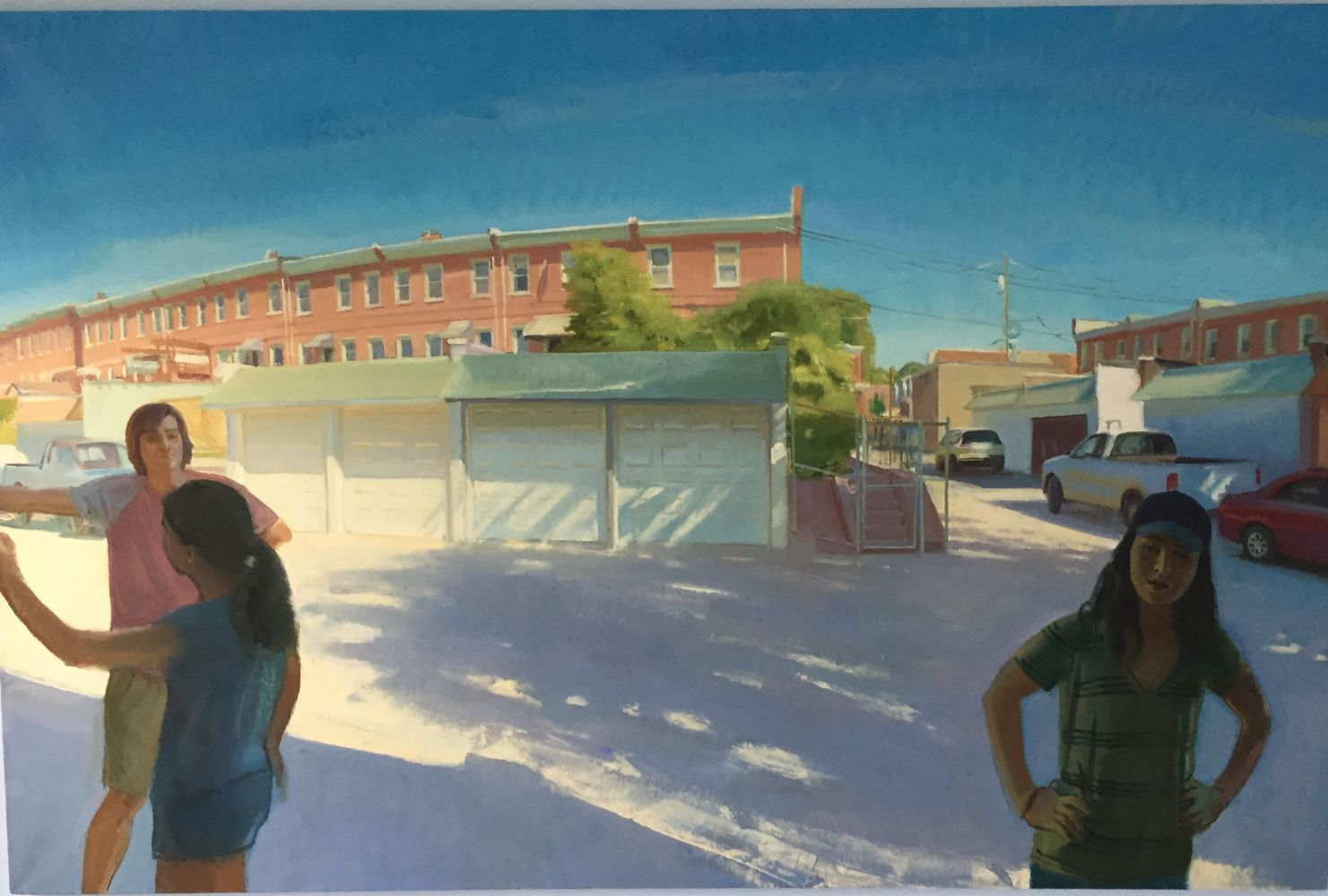 """Marcus & Mina with Rowhouses  52"""" x 80""""  Oil On Linen"""
