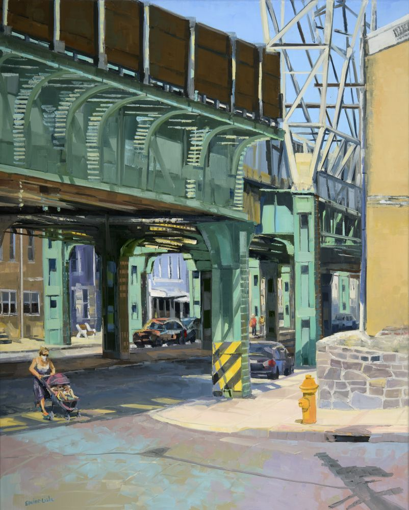 "Under The Elevated  30"" x 24""  Oil On Canvas"