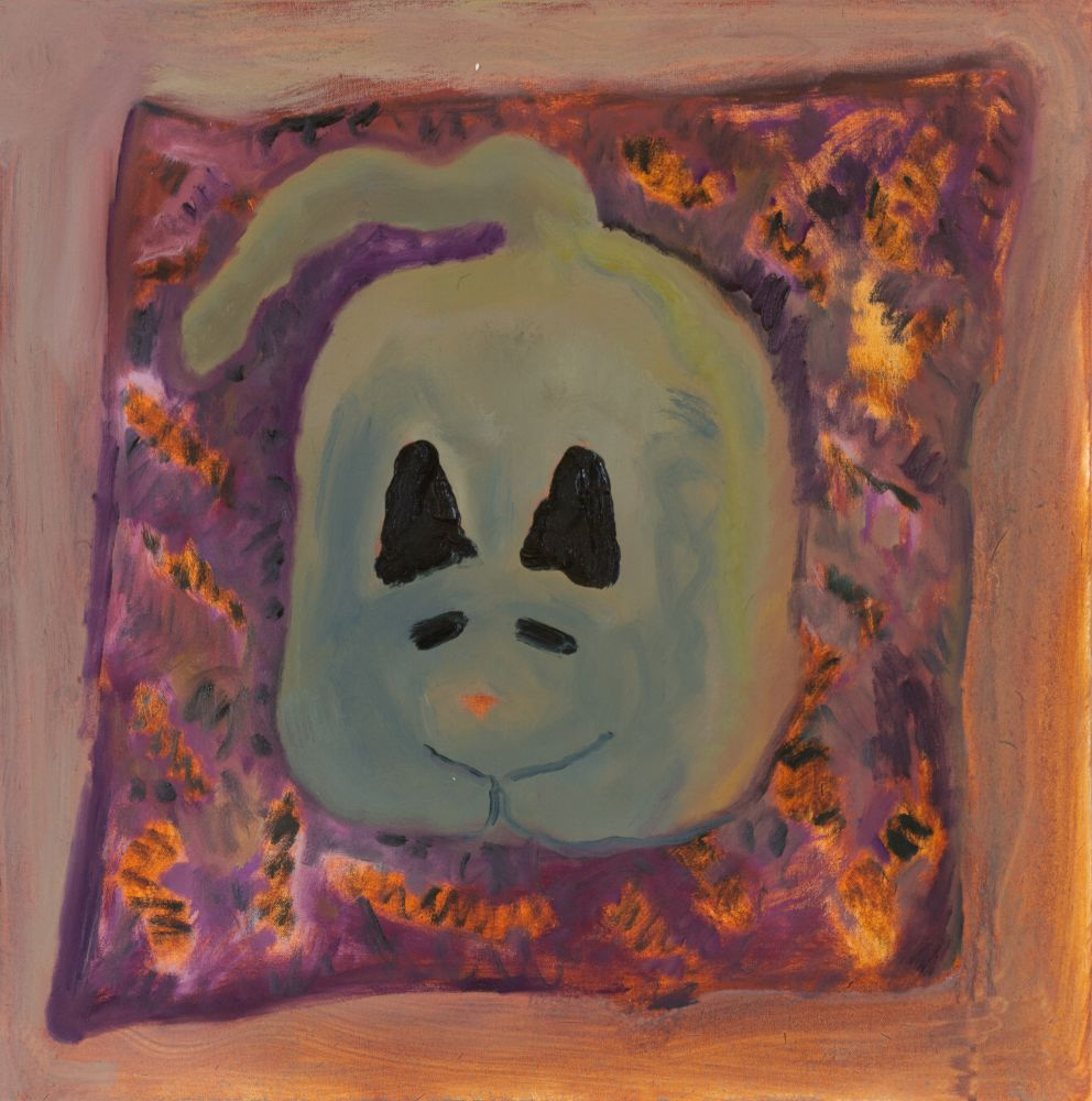 "Morgan Hobbs, Scaredy Cat - Pumpkin  22"" x 22""  Oil On Canvas"